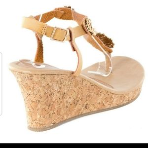 Women Wedge Thong Sandals,  HS-2085, Khaki